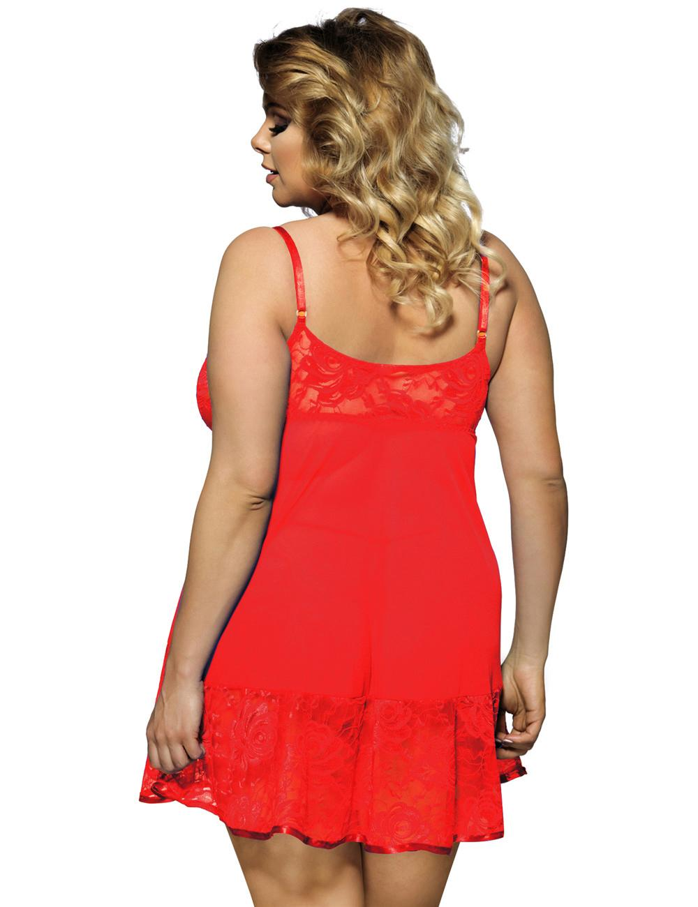 Red Lace Babydoll Set rear view