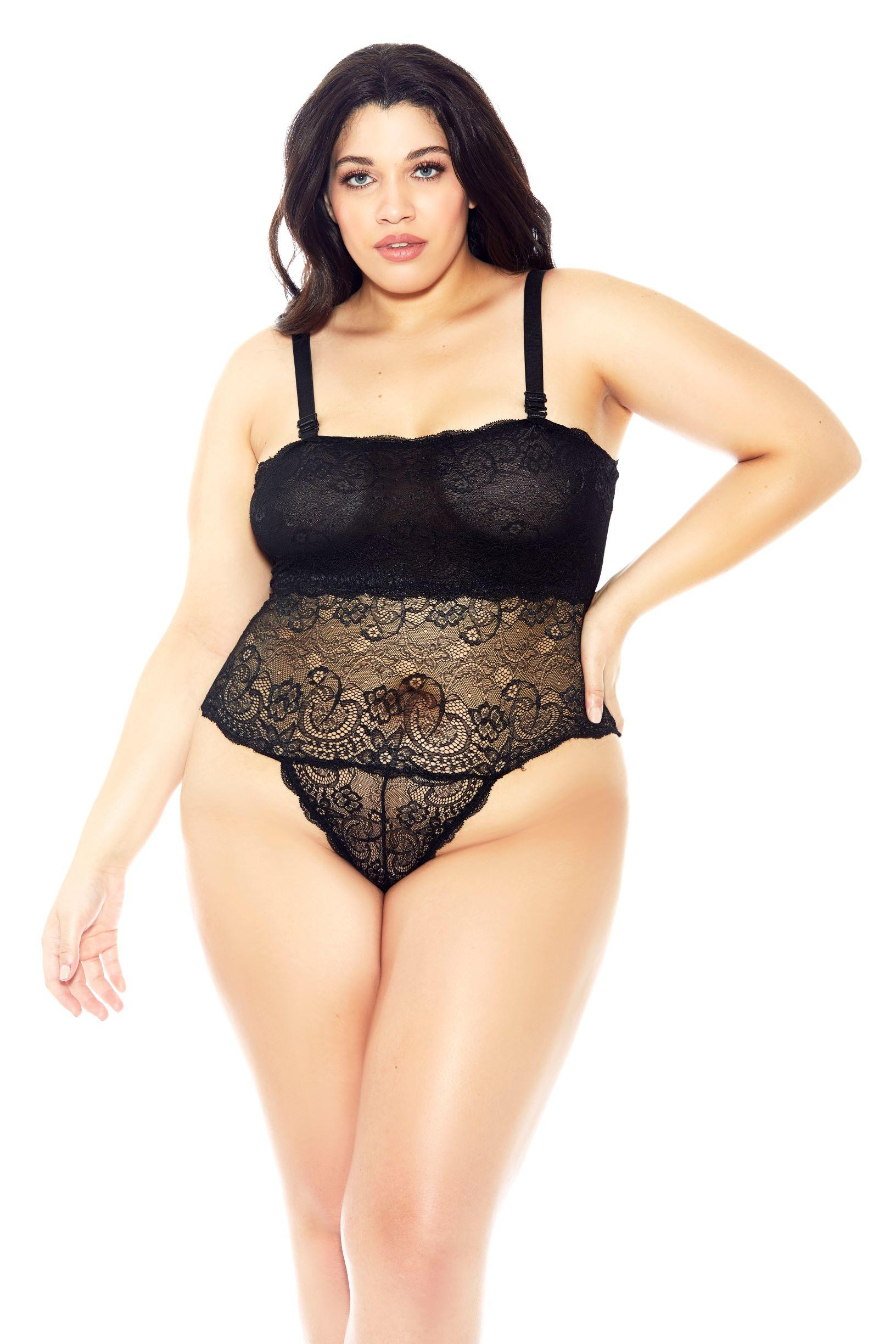 Black Lace Reversible Teddy lace up back