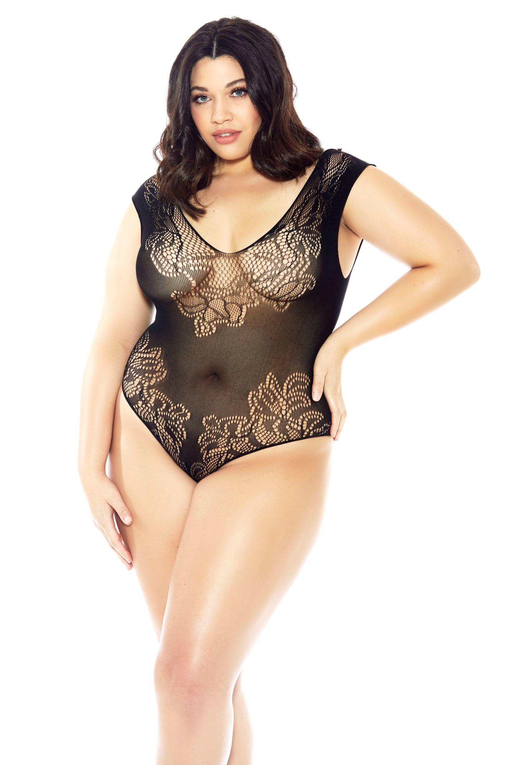 Plus Size Black Lace Teddy