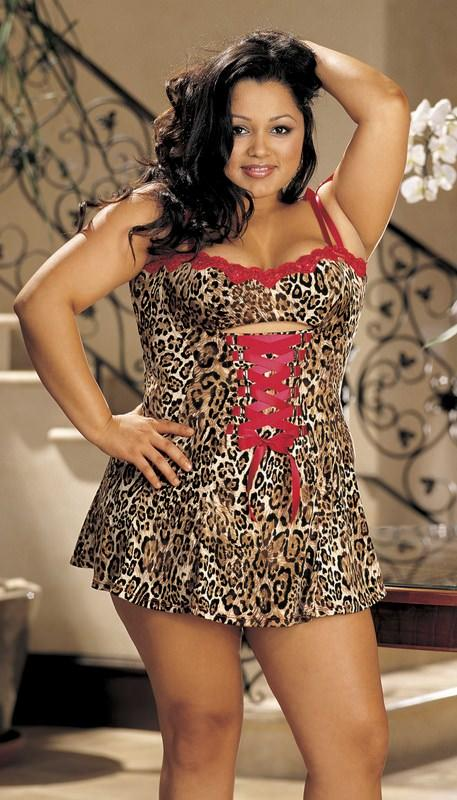 Stretch Knit & Lace Trim Chemise XLLeopard