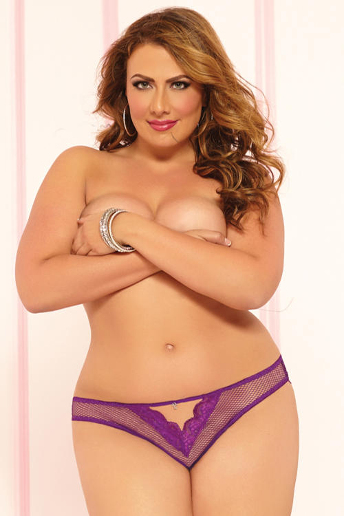 Purple Fishnet & Lace Thong