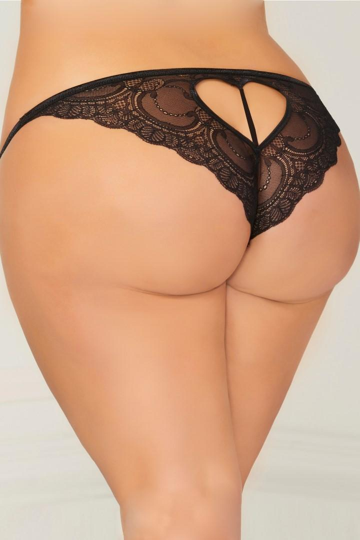 Black open crotch panty