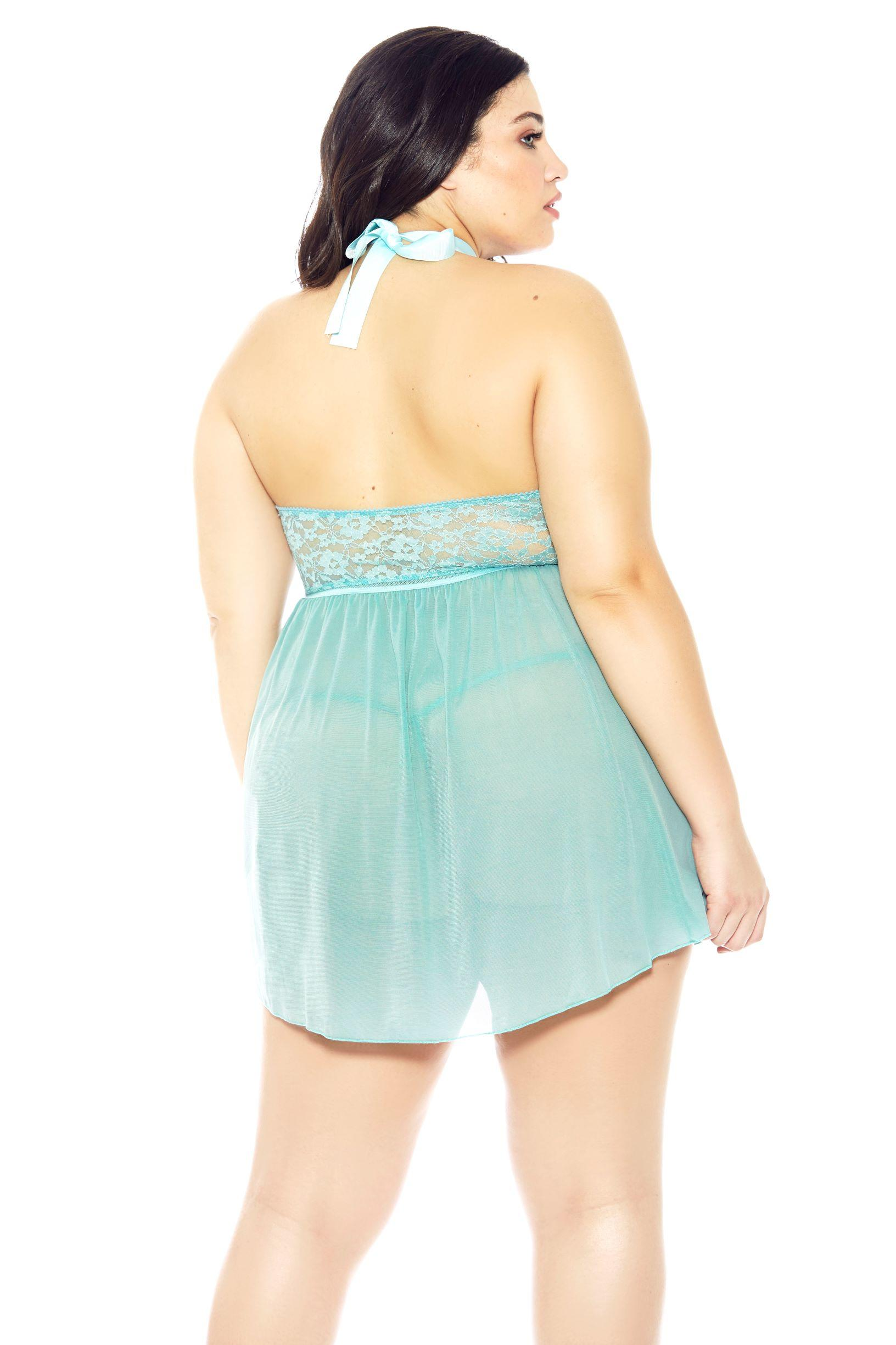 Bella Halterneck Mint Babydoll rear view