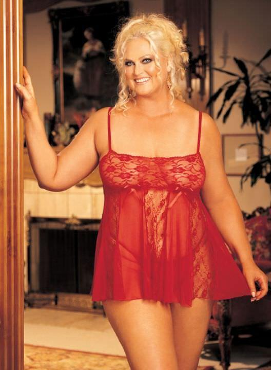 Red Lace & Sheer Net Babydoll Set