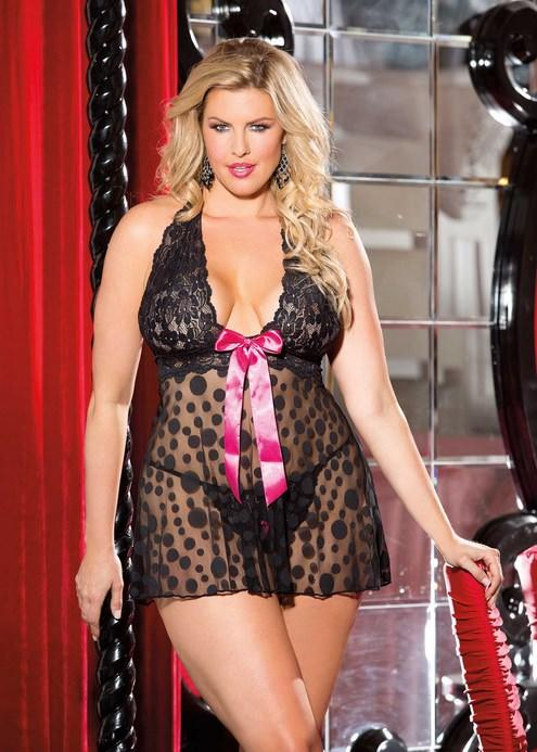 Black Polka Dot Net Babydoll Set