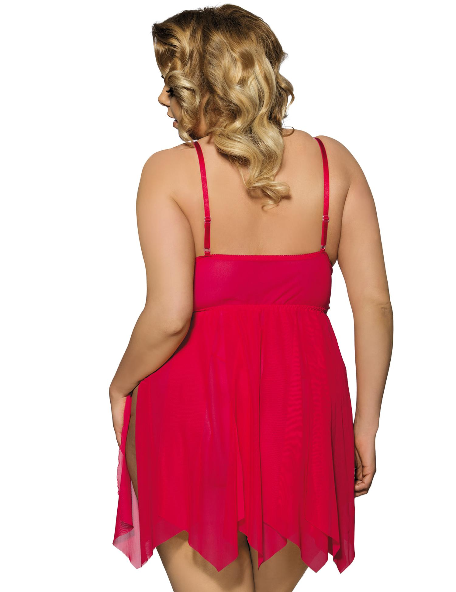 Flirty red lace babydoll rear view