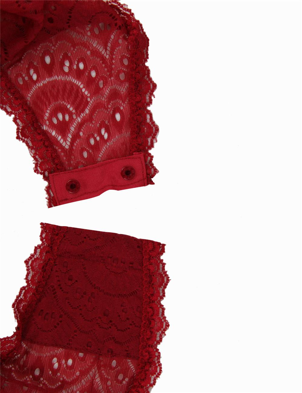 Peacock Burgundy Lace Teddy snap crotch closure