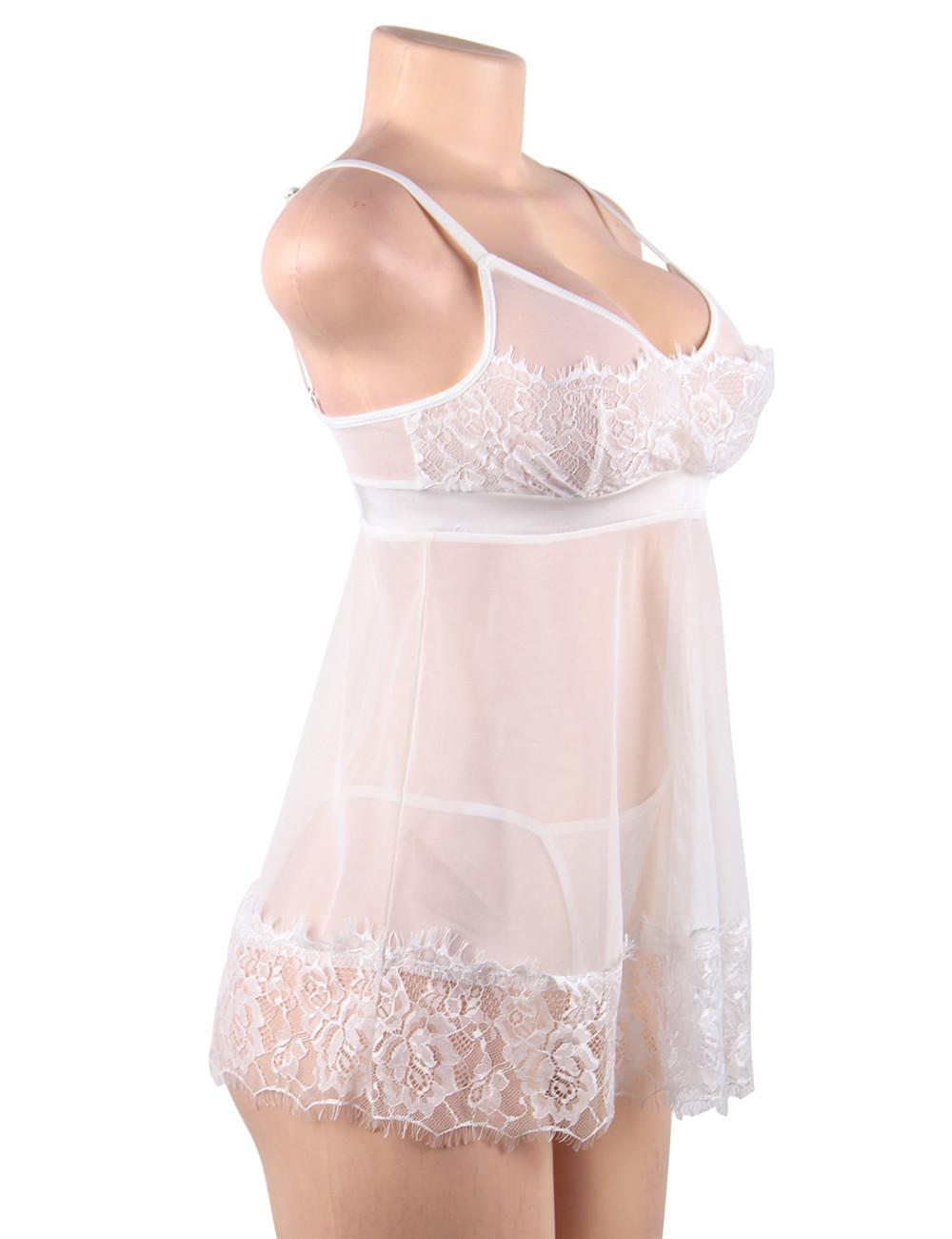 Plus size sheer white babydoll set side view