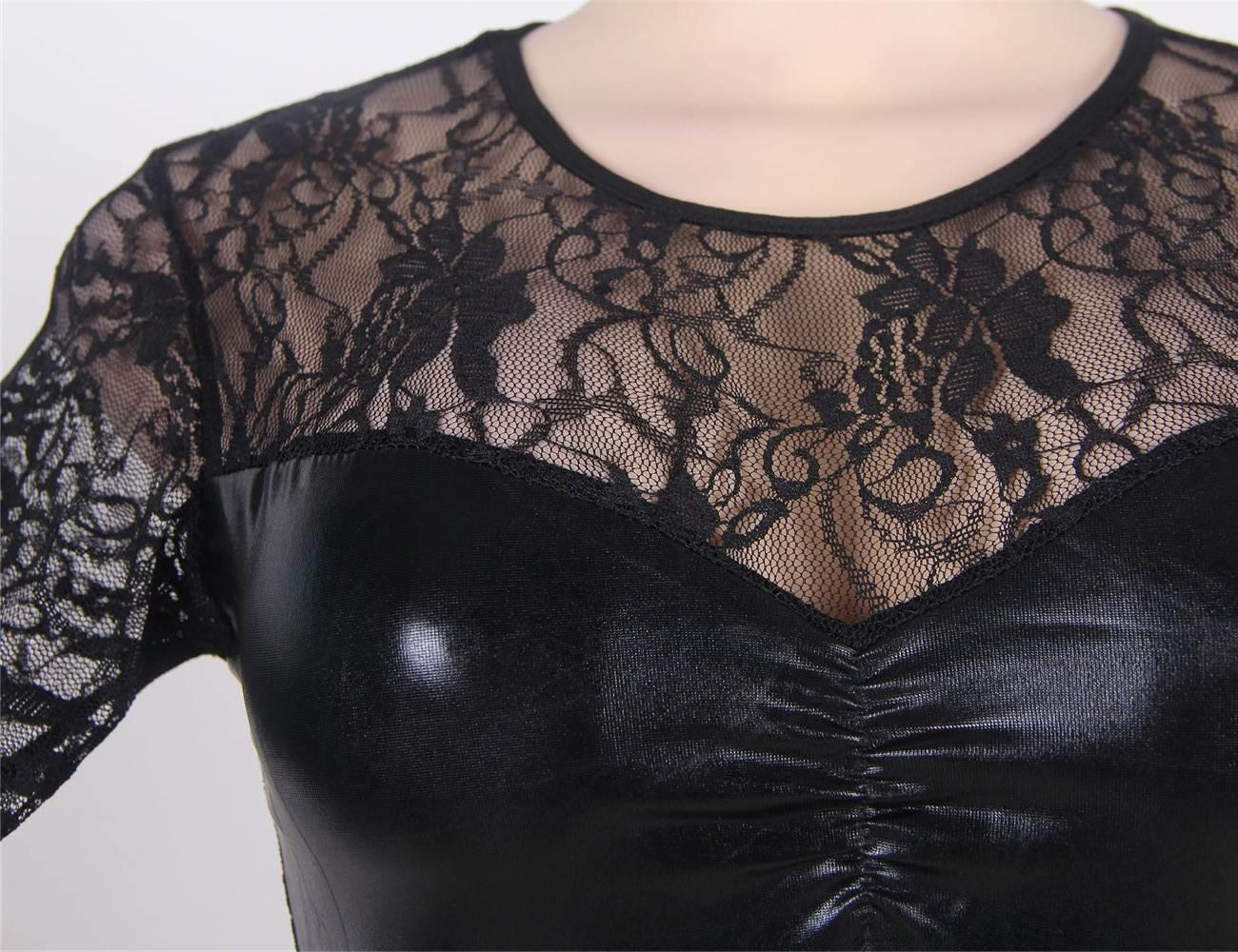PVC & Lace Mini Dress close up