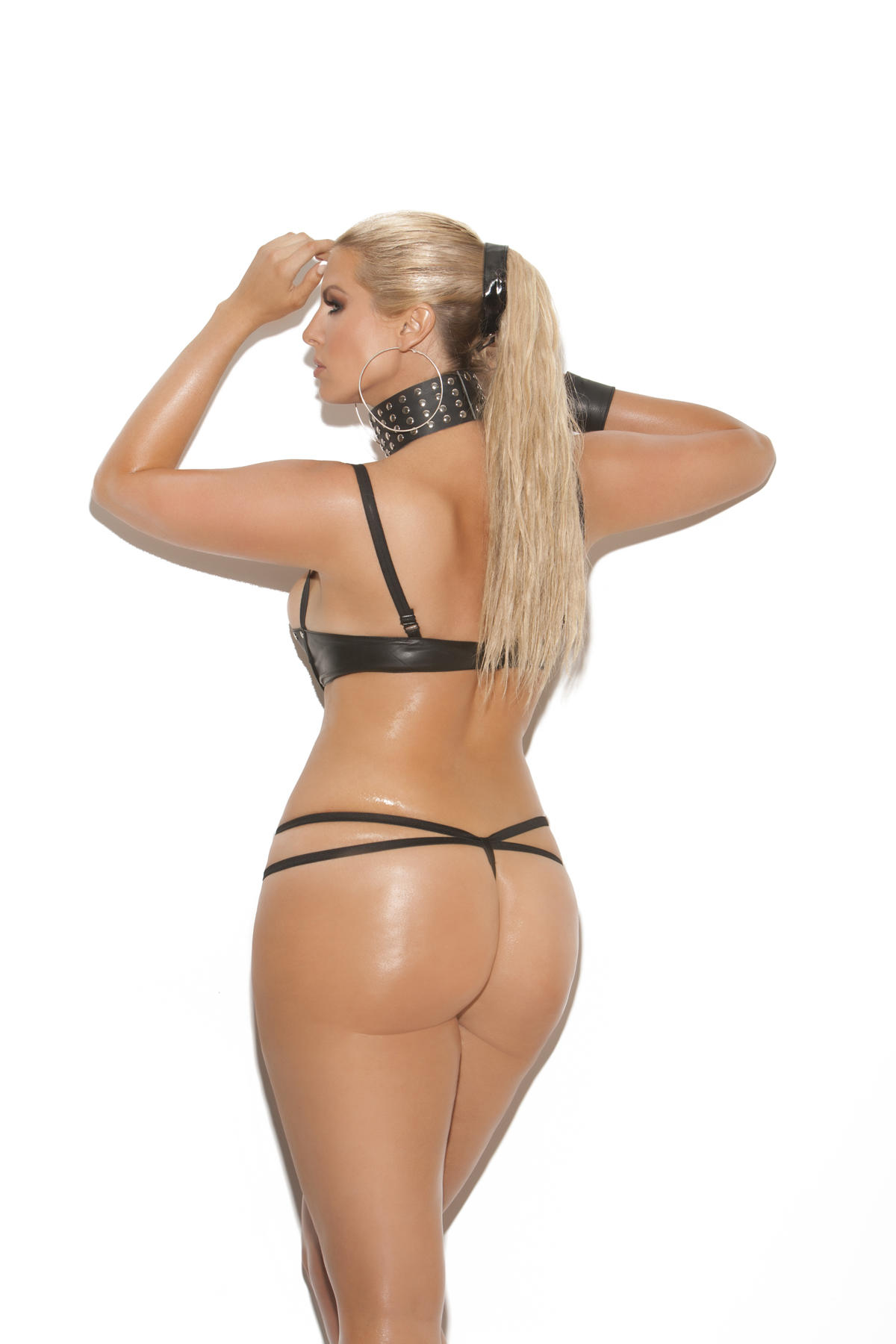 Lace Up Front Leather Teddy rear