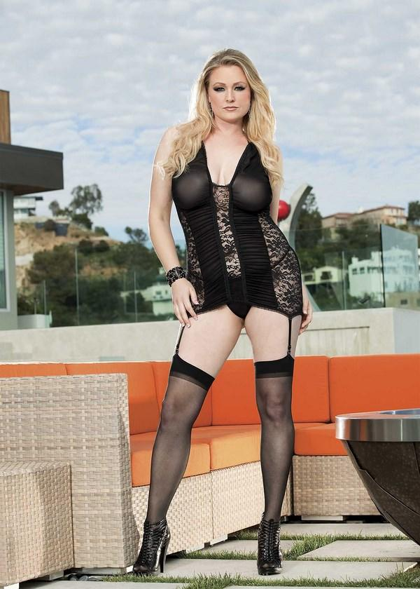 Black Mesh & Lace Chemise Set