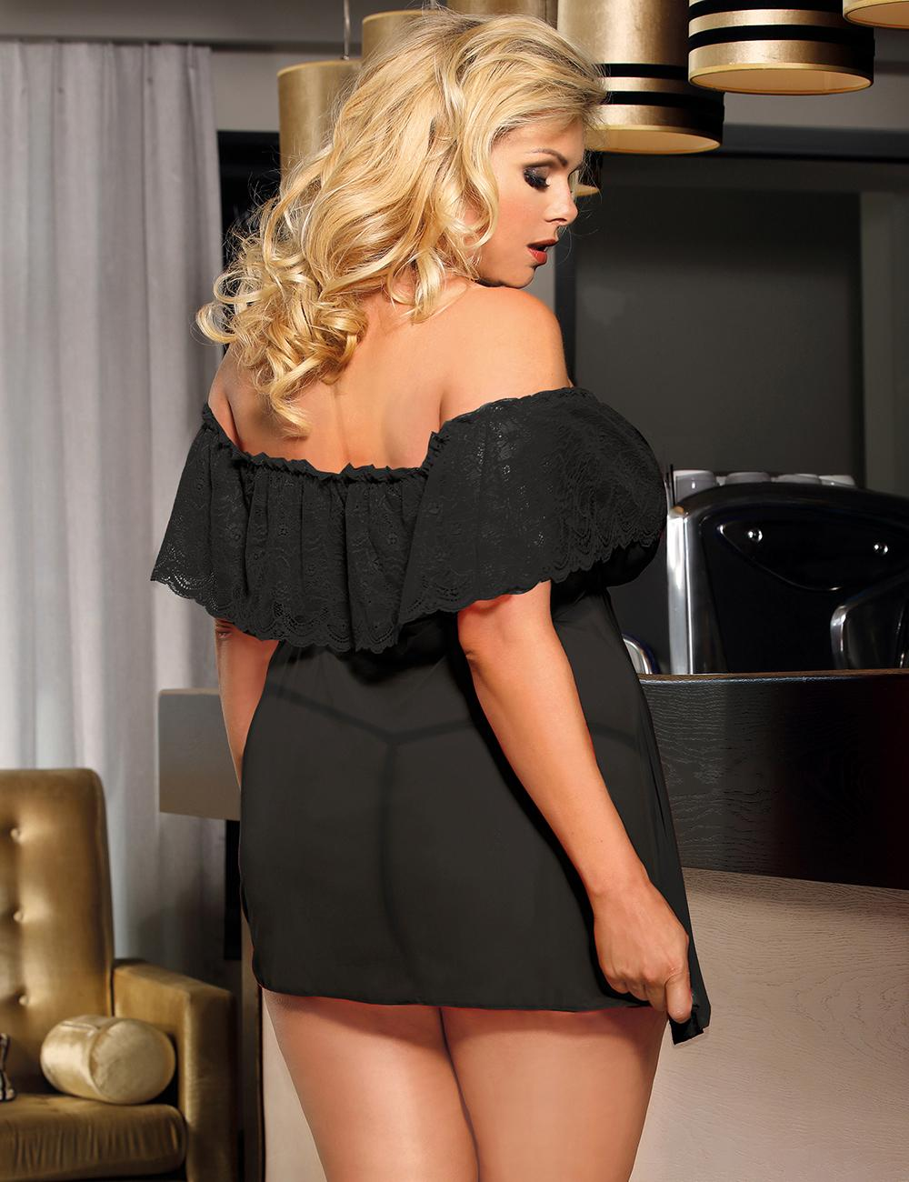 Black off the shoulder chemise rear view