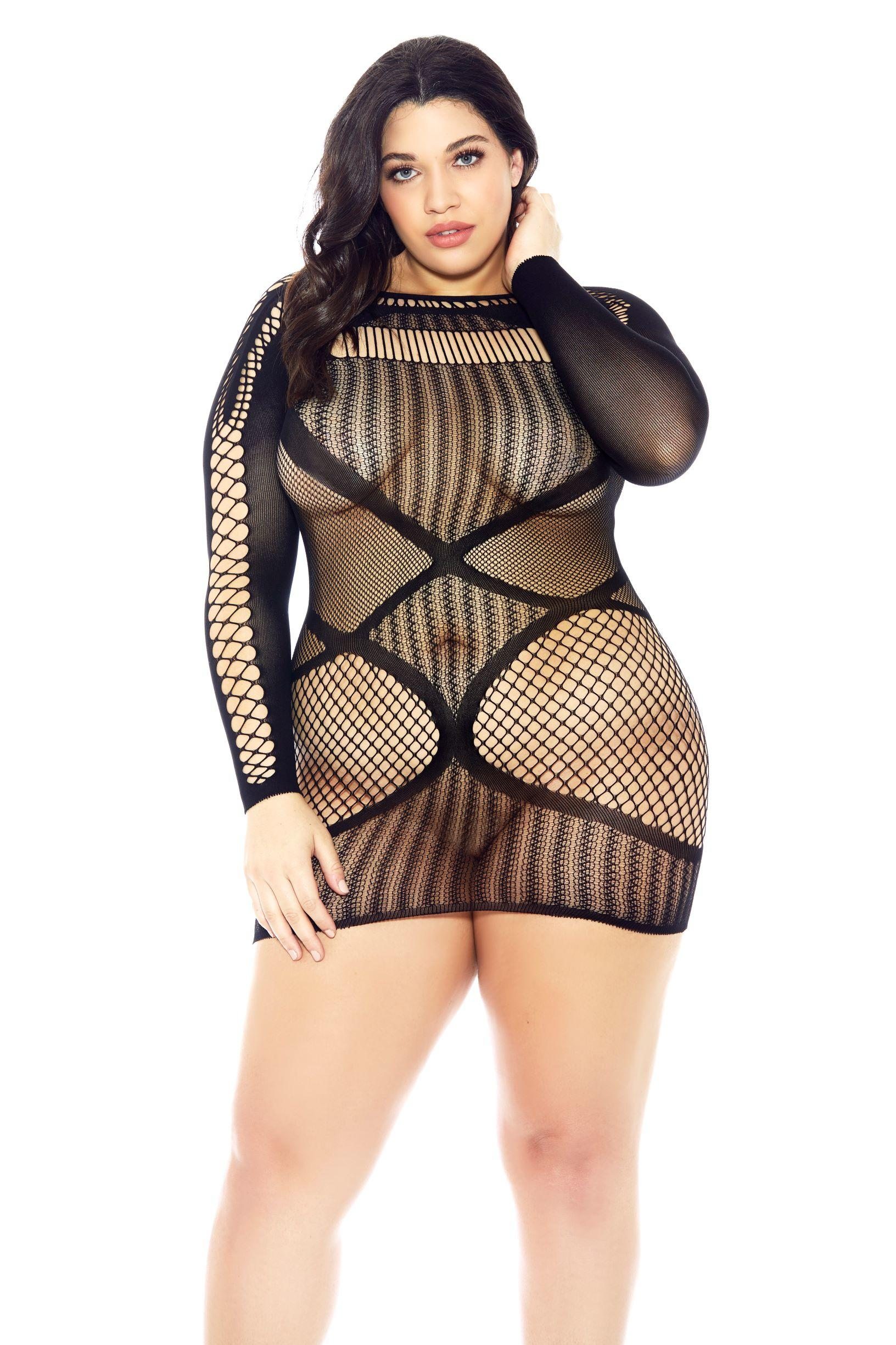 Long Sleeved Fishnet Chemise