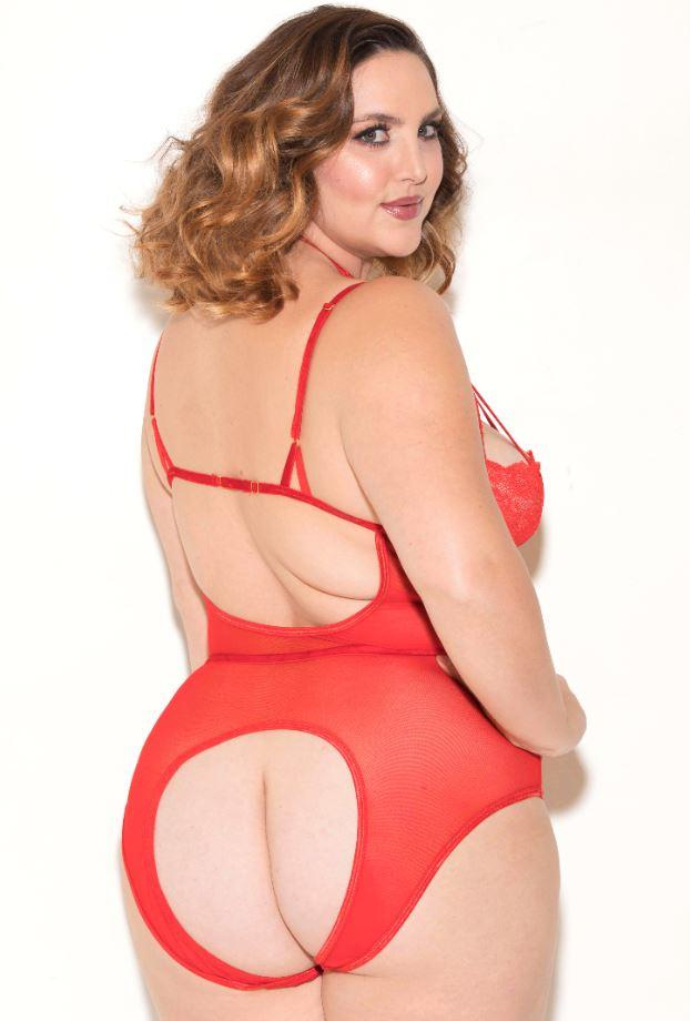 Plus size red lace Teddy open crotch back