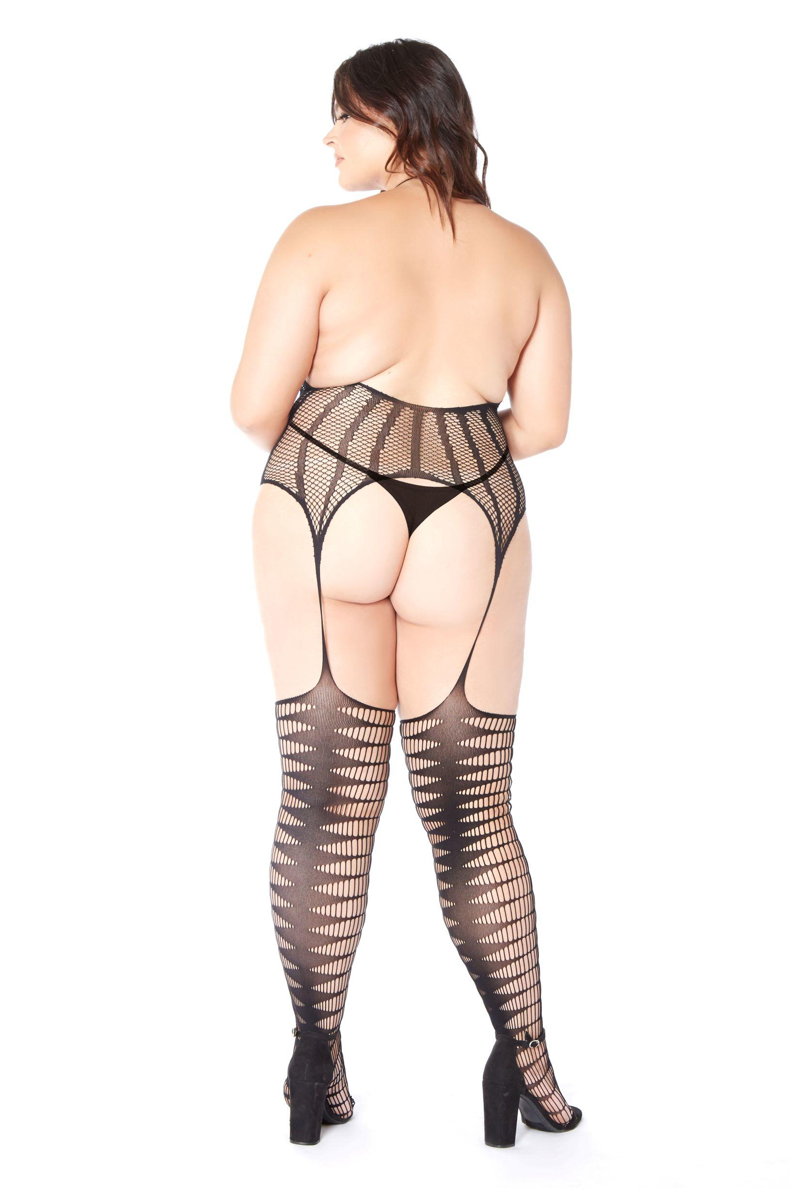 Crotchless Fishnet Bodystocking rear view