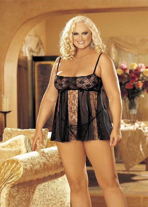 Black Lace & Sheer Net Babydoll Set