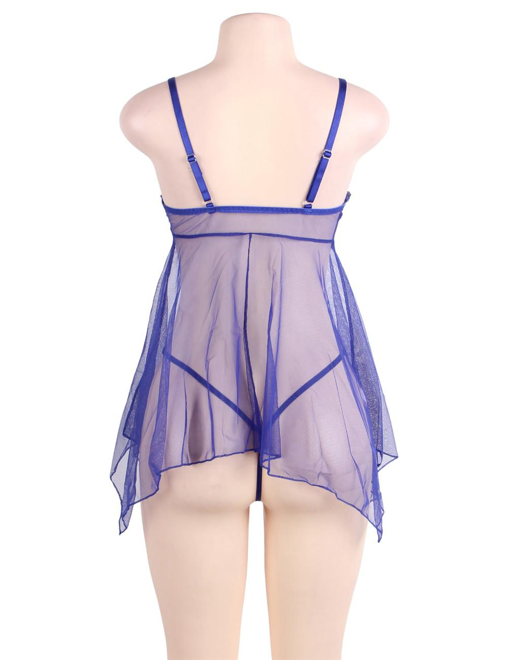 Rear view blue mesh babydoll