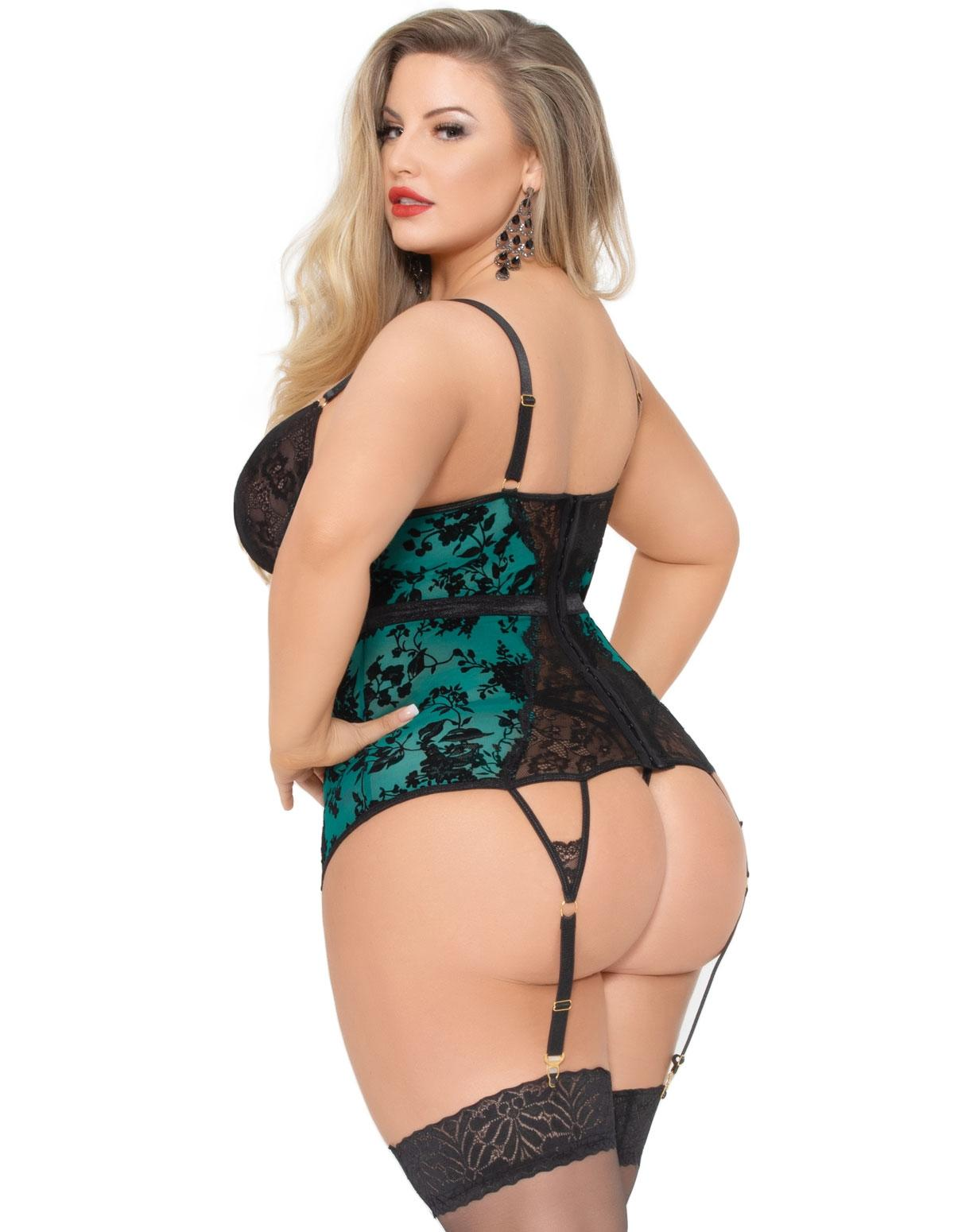 Simply Gorgeous Green Bustier Set rear view