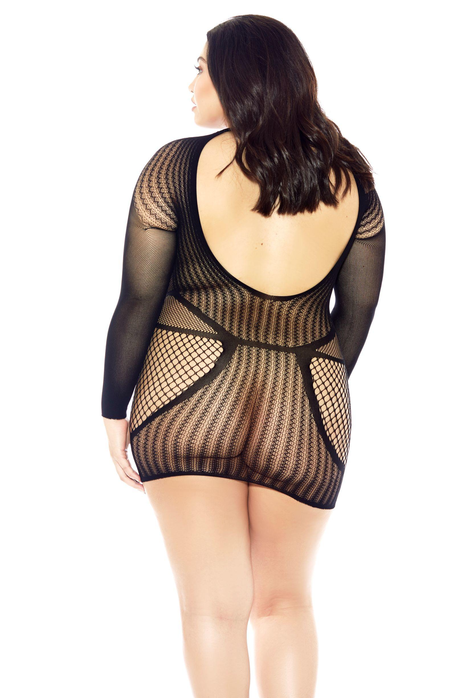 Long Sleeved Fishnet Chemise rear view