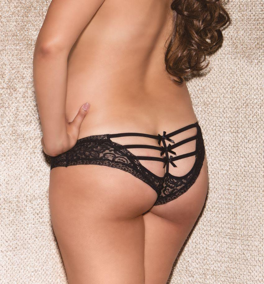 Black lace Tanga Briefs rear