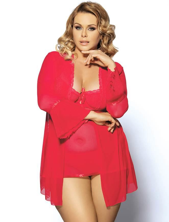 Red Sheer Robe & Babydoll set