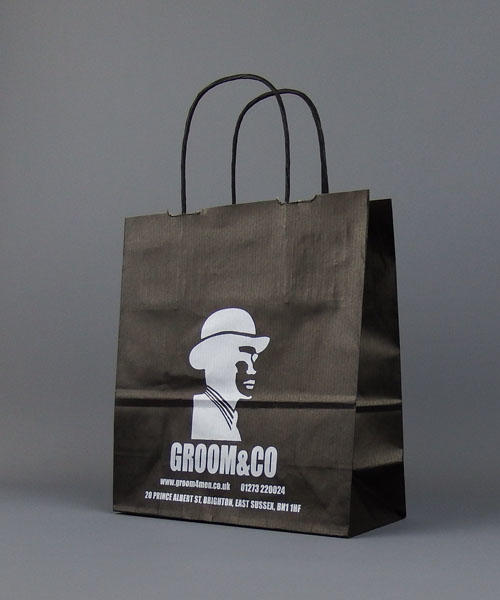 Small Black Printed Paper Bags With Twisted Handles