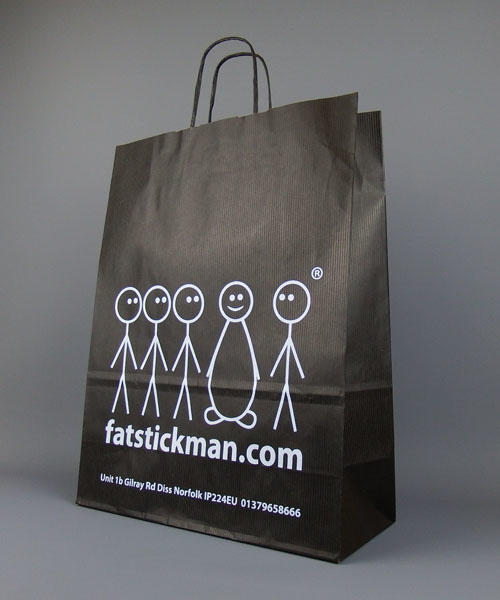 Large Black Printed Paper Bags With Twisted Handles