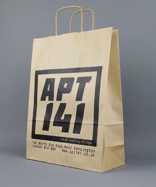 b0fa69a6b01e Medium Brown Printed Paper Bags with Twisted Handles
