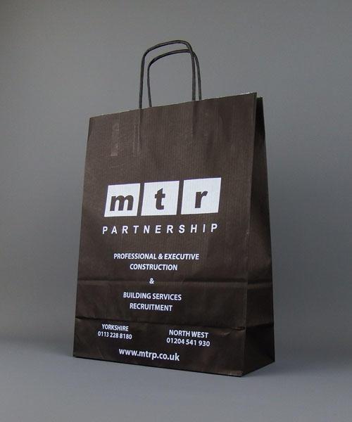 Medium Black Printed Paper Bags With Twisted Handles