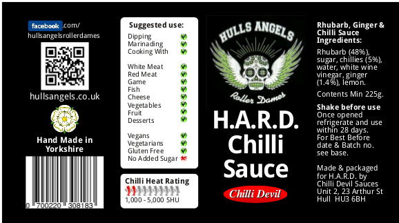 Own label chilli sauce used for team merchandise for fundraising.