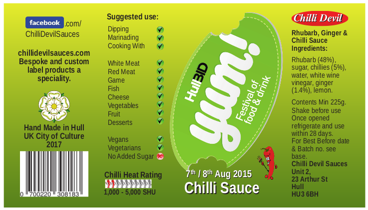 Private label for a chilli sauce used to promote an event