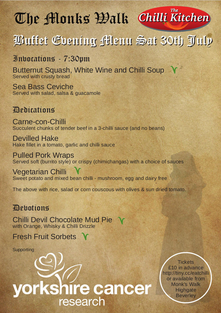 Saturday 30th July Menu