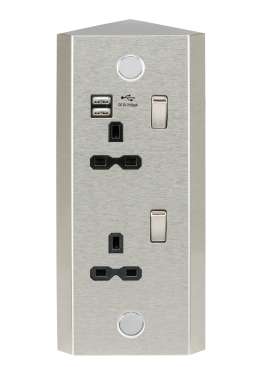 13a 2g Vertical Corner Mount Switched Socket With Dual Usb