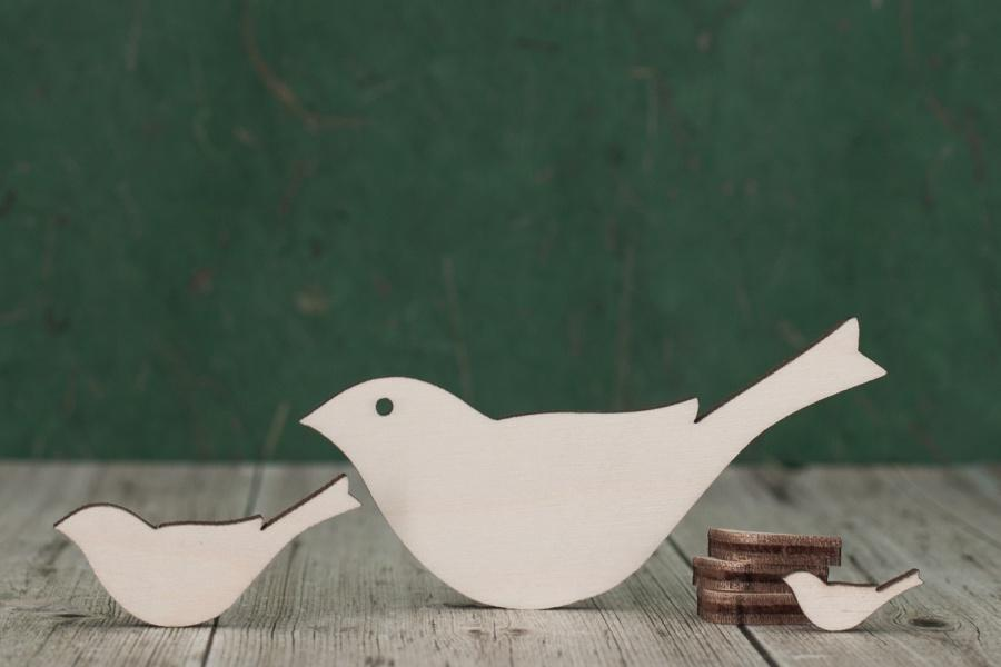Wooden Bird Shapes For Crafts