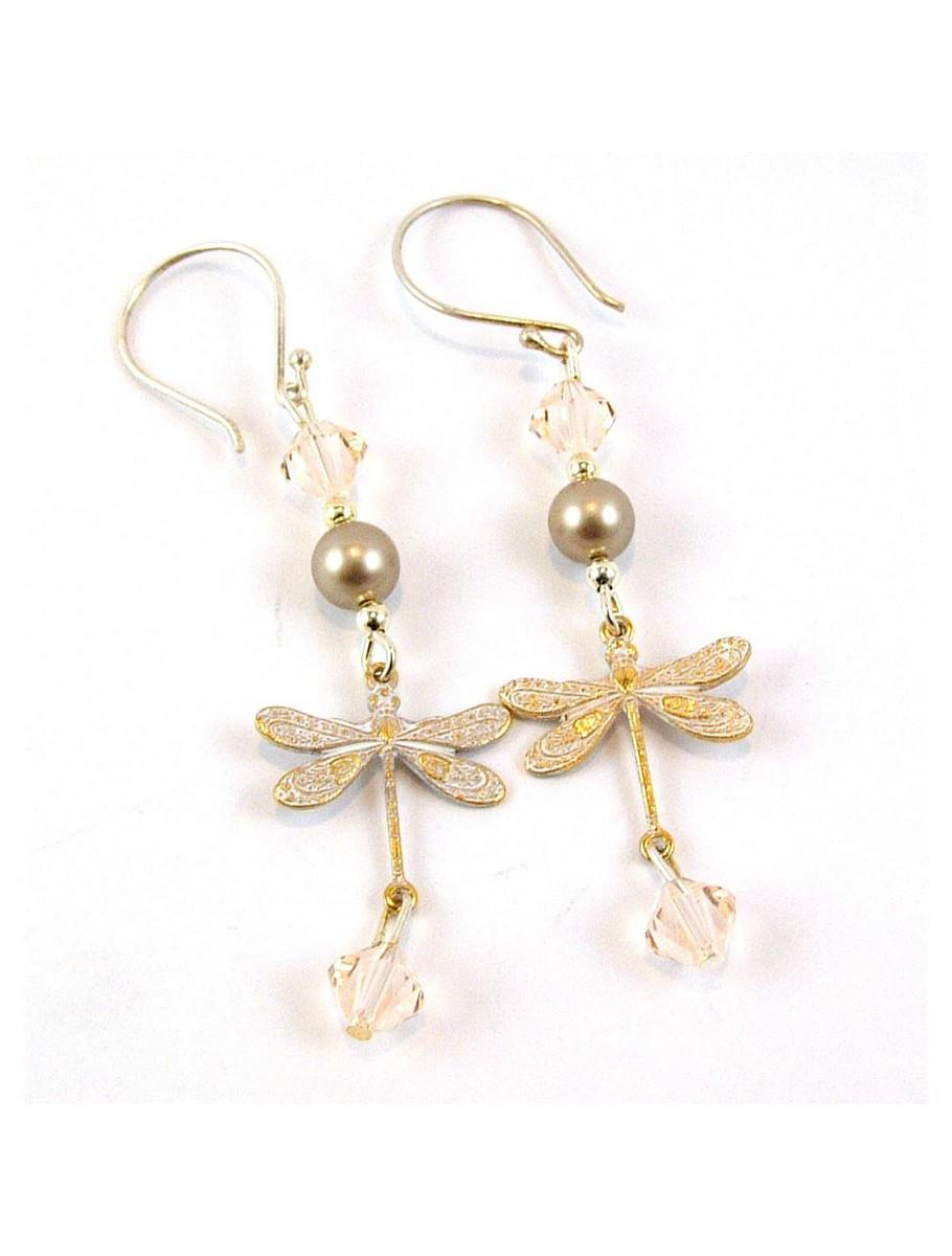 White Gold Patina Dragonfly Earrings From Spendanddonate