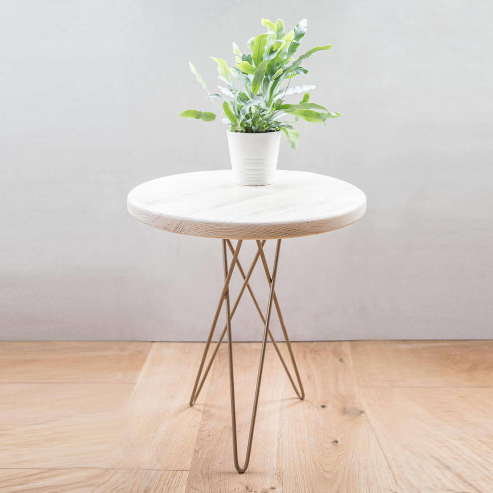 Reclaimed Wood Side Table Contemporary Design