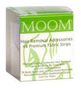 clear plastic pvc box with green label insert showing Moom 48 Premium Fabric Strips.
