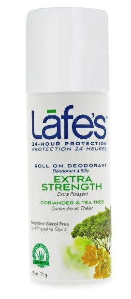white plastic bottle with  Tea Tree on label showing lafes roll on deodorant extra strength