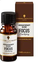 Brown glass 10ml bottle with black cap shown with brown box white label showing focus aromatherapy blend