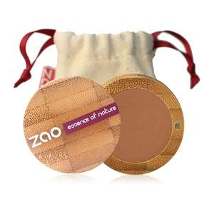 open pink eye primer in bamboo case natural cotton pouch shown behind, label shows zao