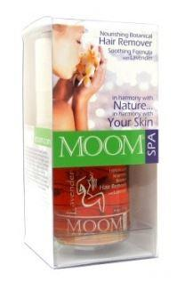 Clear plastic box containing orange clear wax, roll of fabric strips, label  Moom Spa Organic & 100% Natural hair remover with Lavender
