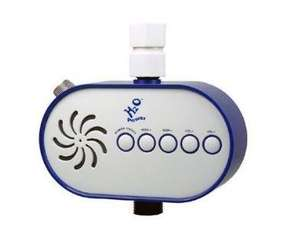 oval white shaped radio with blue surround 5 white buttons, shown attached to shower pipe