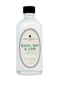 clear glass bottle showing amphora basil and bay refill