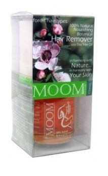 clear plastic box containing orange clear wax, roll of fabric strips, label Moom Classic 100% Natural & Organic Hair remover with Tea Tree