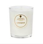 ivory candle in clear glass pot labelled amphora lavender