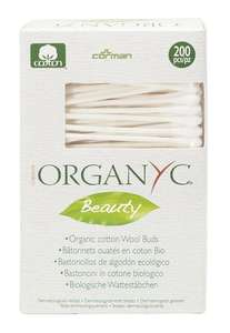 white and green box packaging with window displaying cotton buds. Label shows Organyc beauty cotton wool buds