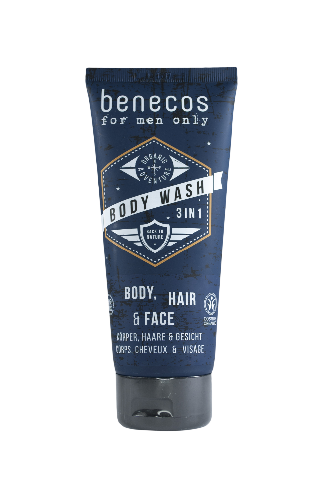 Black plastic squeezy tube with flip top cap, white logo showing benecos body wash 3 in 1