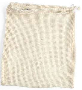 open woven net bag with draw string natural colour