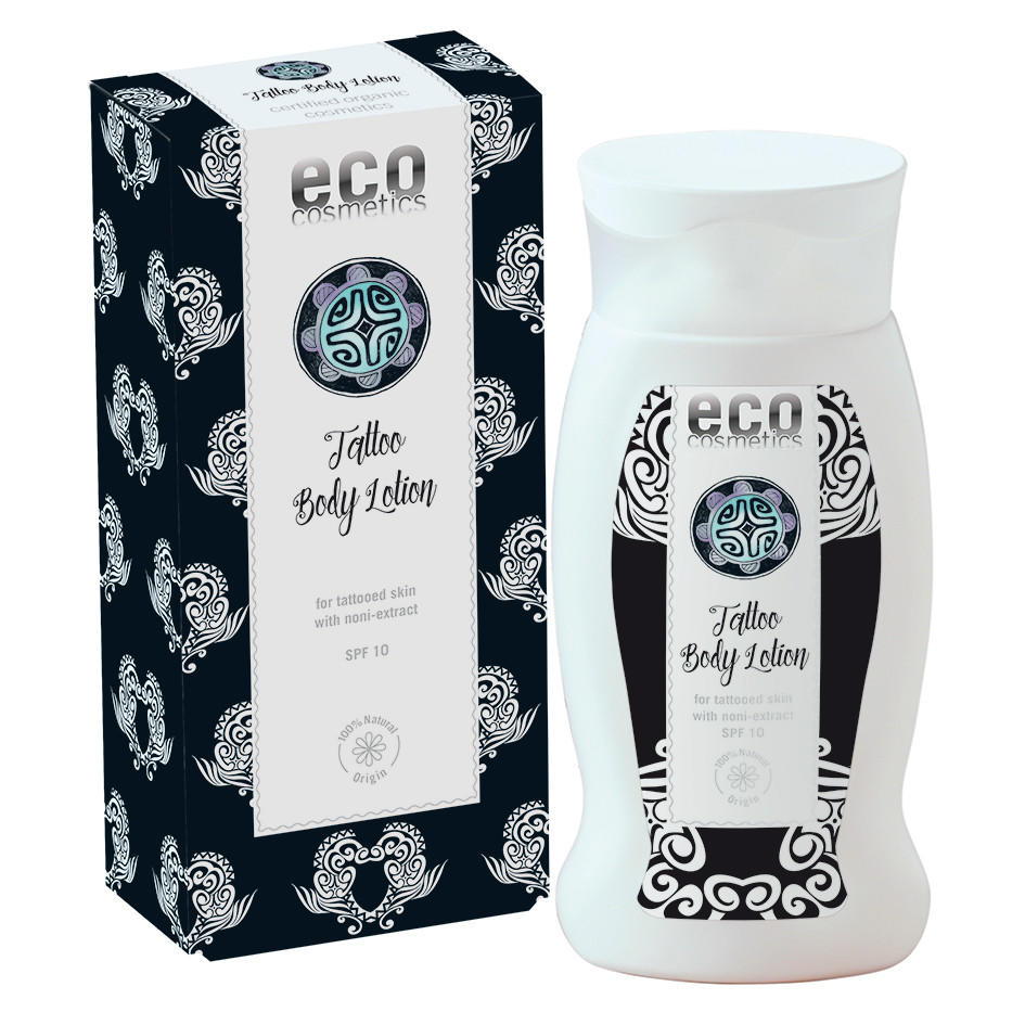 Black and White tattoo pattern box with white plastic bottle with black and white tattoo label showing eco cosmetics tattoo body lotion spf10
