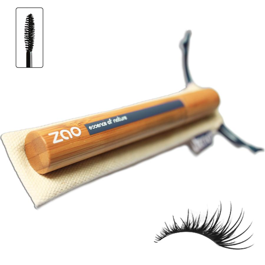 bamboo mascara tube shown on natural cotton drawstring pouch, black eyelashes shown as colour sample on white background, label shows zao